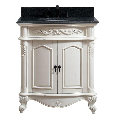 "Avanity PROVENCE-VS31-AW Provence 31"" Vanity in Antique White finish with Impala Black Granite Top"
