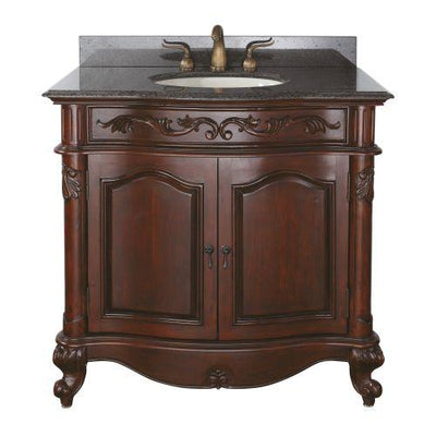 "Avanity PROVENCE-VS36-AC Provence 36"" Vanity w/ Imperial Brown Granite Top and Sink in Antique Cherry finish"