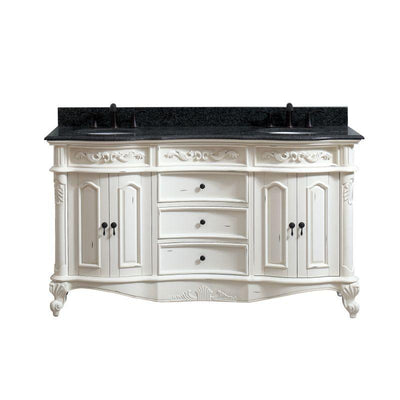 "Avanity PROVENCE-VS61-AW Provence 61"" Double Vanity in Antique White finish with Impala Black Granite Top"
