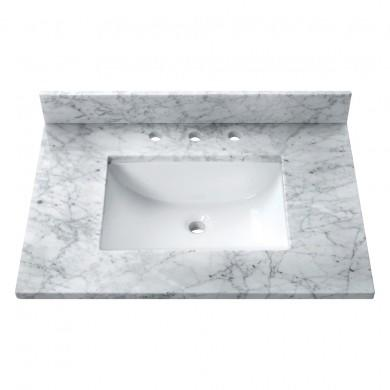 "Avanity SUT31CW-R Stone Top - 31"" Carrera White Marble (rectangle)"