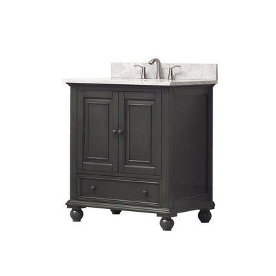 "Avanity THOMPSON-VS30-CL-C Thompson 31"" Vanity Combo in Charcoal Glaze finish w/ Carrera White Top"