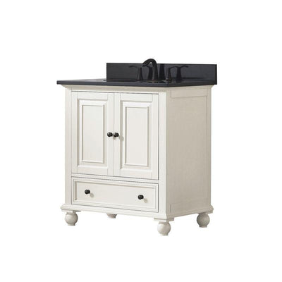 "Avanity THOMPSON-VS30-FW-A Thompson 31"" Vanity Combo in French White finish w/ Black Granite Top"