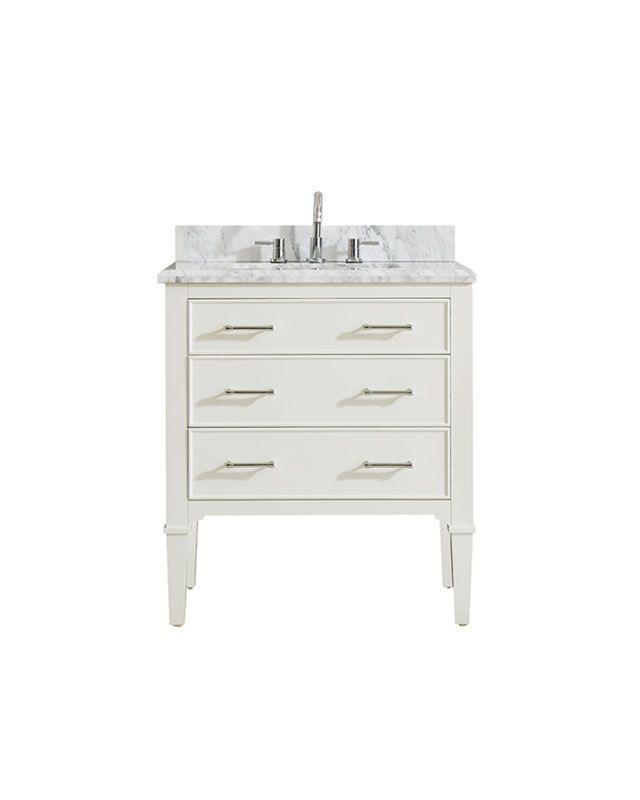 "Azzuri ARLINGTON-VS30-WT-C Arlington 31"" Vanity in White finish with Carrera White Marble Top"