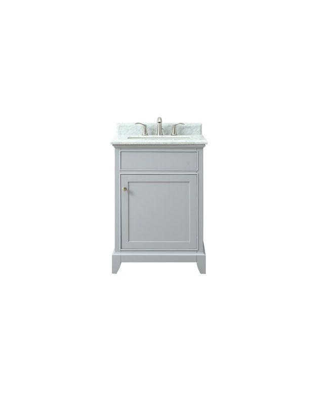 "Azzuri AURORA-VS24-LG-C Aurora 25"" Vanity in Light Gray finish with Carrera White Marble Top"