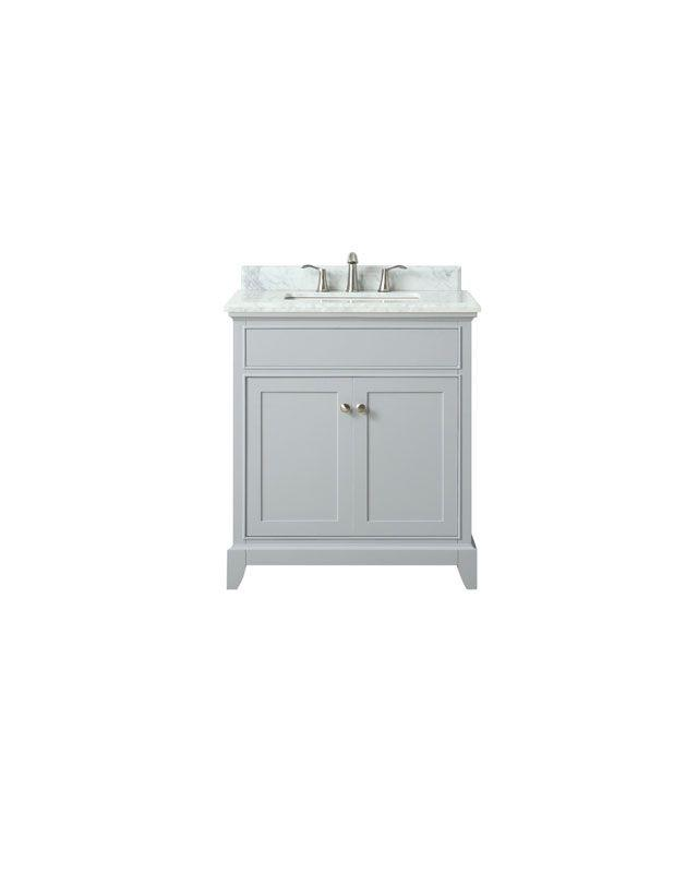 "Azzuri AURORA-VS30-LG-C Aurora 31"" Vanity in Light Gray finish with Carrera White Marble Top"