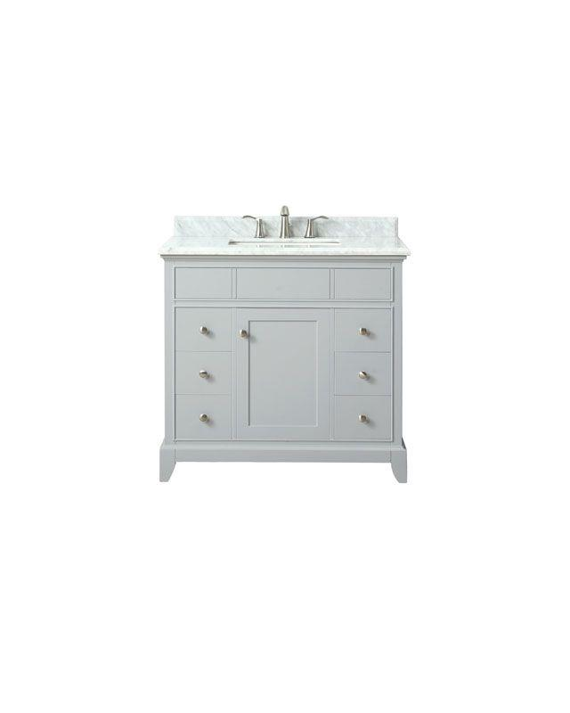 "Azzuri AURORA-VS36-LG-C Aurora 37"" Vanity in Light Gray finish with Carrera White Marble Top"