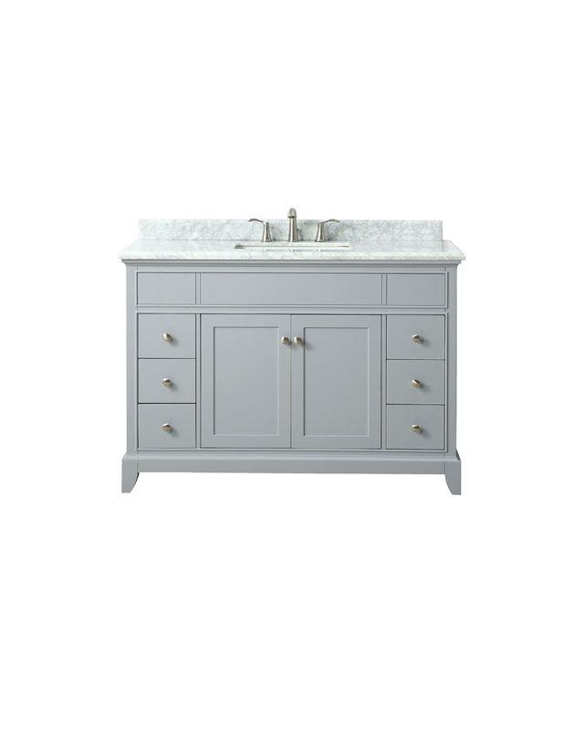 "Azzuri AURORA-VS48-LG-C Aurora 49"" Vanity in Light Gray finish with Carrera White Marble Top"