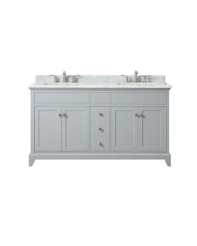 "Azzuri AURORA-VS60-LG-C Aurora 61"" Double Sink Vanity in Light Gray finish with Carrera White Marble Top"