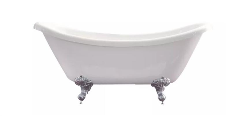 "Azzuri BT006G Nova 67"" Free Standing Acrylic Soaking Tub with Center Drain, Pop-up Drain, Glossy White"