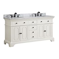 "Azzuri HASTINGS-VS60-FW-C Hastings 61"" Double Sink Vanity in French White finish with Carrera White Marble Top"