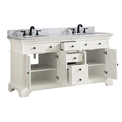"Azzuri HASTINGS-VS72-FW-C Hastings 73"" Double Sink Vanity in French White finish with Carrera White Marble Top"