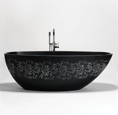 "Blu Bathworks BT0406-01ME1 Halo 63"" Blu Stone Freestanding Oval Bathtub White Matte Embossed"