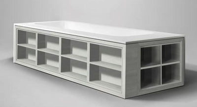 "Blu Bathworks BT6204-01M Amanpuri 2 Side Shelving Unit 27""X17 1/4""X8 1/2"", White Matte"