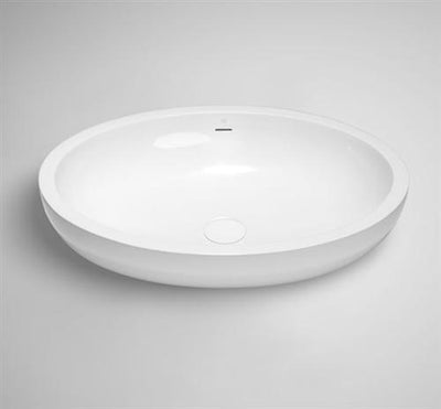 "Blu Bathworks SA0102-01G Halo 23"" Blu Stone Oval Sink White Gloss"