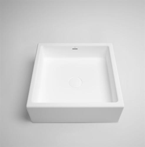 "Blu Bathworks SA0202-01ME1 Box 16"" Blu Stone Square Sink White Matte Embossed"