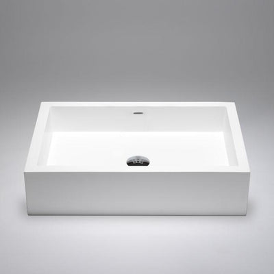 "Blu Bathworks SA0208-01G Box 24"" Blu Stone Rectangular Sink White Gloss"