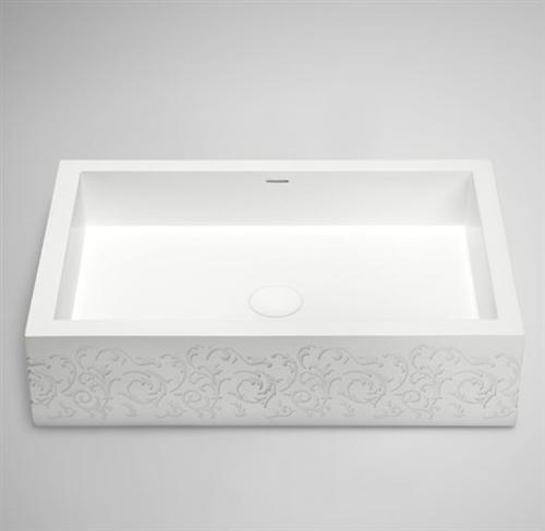 "Blu Bathworks SA0208-01ME1 Box 24"" Blu Stone Rectangular Sink White Matte Embossed"