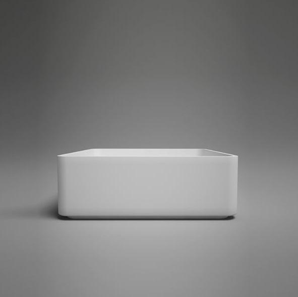 "Blu Bathworks SA0209N37 Box 14.5"" Blu Stone Countertop Basin - White Gloss"