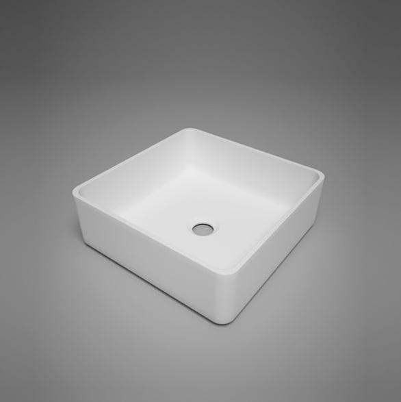 "Blu Bathworks SA0209N37 Box 14.5"" Blu Stone Countertop Basin - White Matte"