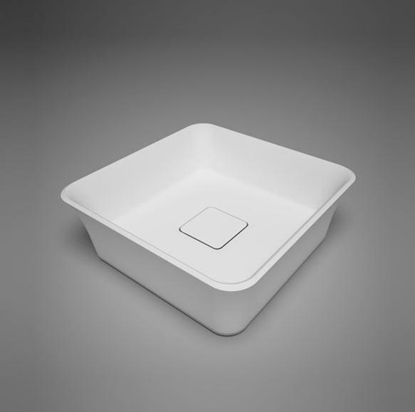 "Blu Bathworks SA0209N38 Box 15"" Blu Stone Countertop Basin - White Matte"
