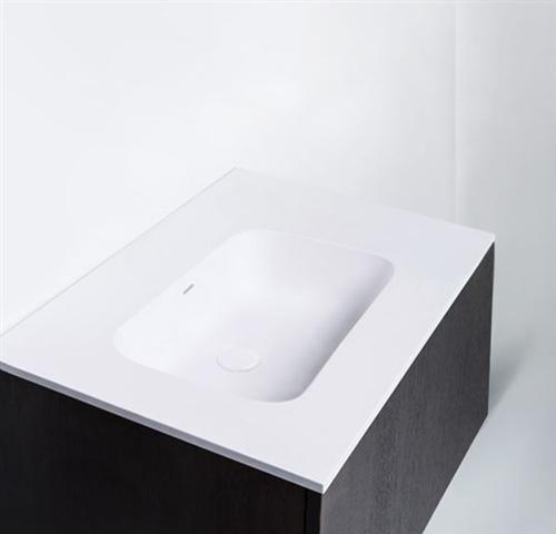 "Blu Bathworks SA0700-01G Blu Stone 27"" Integrated Countertop & Sink 1/2"" Thickness White Gloss"