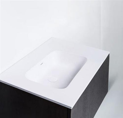 "Blu Bathworks SA0700-01M Blu Stone 27"" Integrated Countertop & Sink 1/2"" Thickness White Matte"