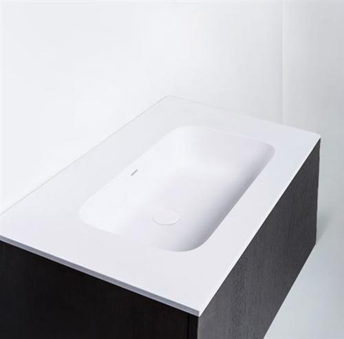 "Blu Bathworks SA0910-01M Blu Stone 35"" Integrated Countertop & Sink 4"" Thickness White Matte"