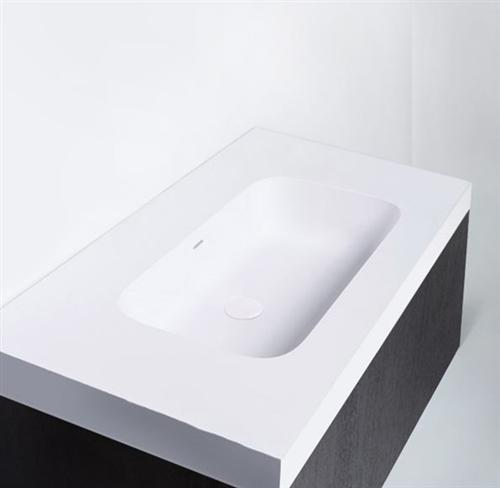 "Blu Bathworks SA1200-01G Blu Stone 47"" Integrated Countertop & Sink 1/2"" Thickness White Gloss"