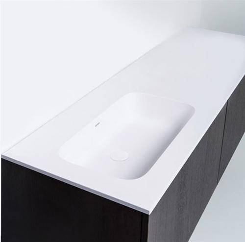 "Blu Bathworks SA1401-01M Blu Stone 55"" Integrated Countertop & Offset (Left) Sink 1/2"" Thickness White Matte"