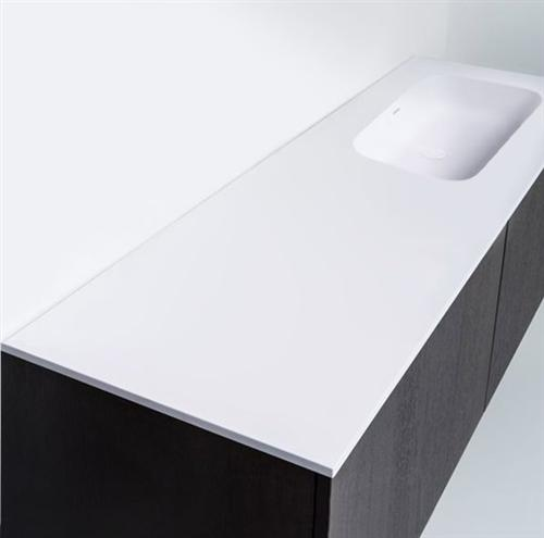 "Blu Bathworks SA1402-01G Blu Stone 55"" Integrated Countertop & Offset (Right) Sink 1/2"" Thickness White Gloss"