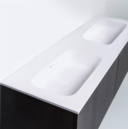 "Blu Bathworks SA1410-01G Blu Stone 55"" Integrated Countertop & Double Sink 4"" Thickness White Gloss"