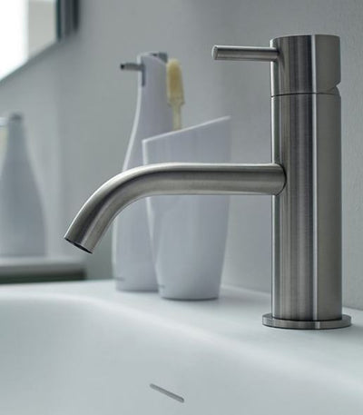 Blu Bathworks TOX101-S Inox Stainless Steel Deck-Mount Single-Lever Sink Faucet Satin Finish