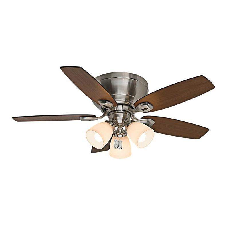 "Casablanca 53187 44"" Durant 3 Light Brushed Nickel Ceiling Fan with Light"