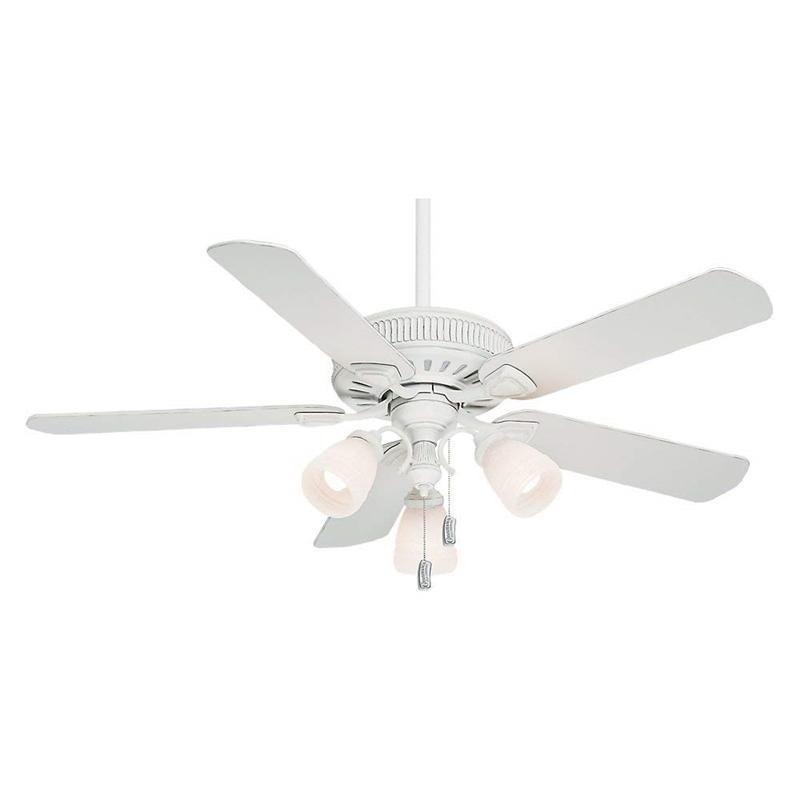 "Casablanca 54005 54"" Ainsworth Gallery 3 Light Cottage White Ceiling Fan with Light"
