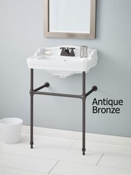 Cheviot 553-WH-1-575-AB Essex Console Lavatory Single Hole Drilling White w/ Antique Bronze Console Legs