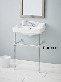 Cheviot 553-WH-1-575-CH Essex Console Lavatory Single Hole Drilling White w/ Chrome Console Legs