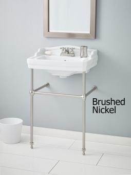"Cheviot 553-WH-8-575-BN Essex Console Lavatory 8"" Drilling White w/ Brushed Nickel Console Legs"