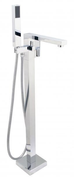 Cheviot 7560-PN Square Free Standing Tub Filler with Hand Shower Polished Nickel