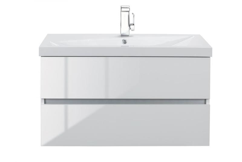 "Cutler FVBLANCO36 Sangallo Gloss Collection 36"" Wall Mount Bathroom Vanity - 2 Drawer with Top, Sunny White"