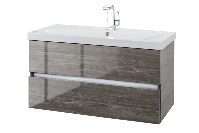 "Cutler FVFOSSILO36 Sangallo Gloss Collection 36"" Wall Mount Bathroom Vanity - 2 Drawer with Top, Fossil Oak"