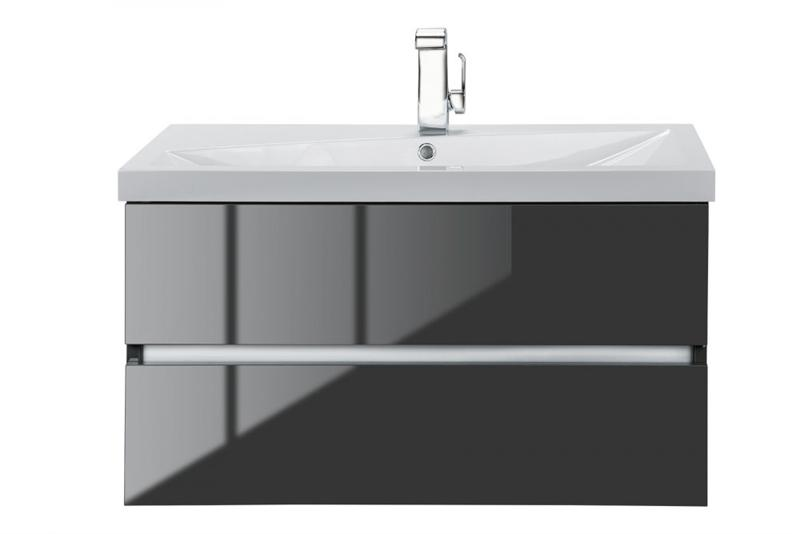 "Cutler FVLAVA36 Sangallo Gloss Collection 36"" Wall Mount Bathroom Vanity - 2 Drawer with Top, Lava Grey"