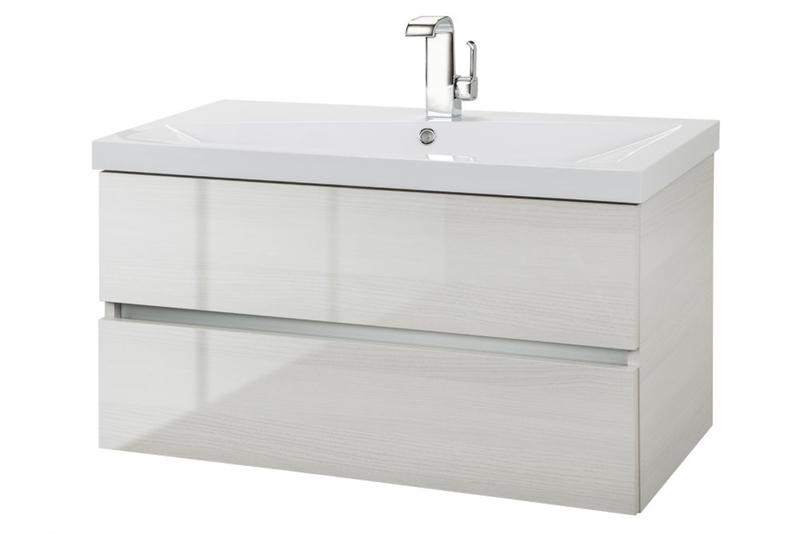 "Cutler FVWHITEB36 Sangallo Gloss Collection 36"" Wall Mount Bathroom Gloss Vanity - 2 Drawer with Top, White Birch"
