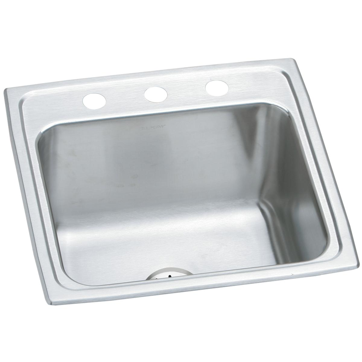"Elkay Lustertone Classic Stainless Steel 19-1/2"" x 19"" x 10-1/8"", Single Bowl Drop-in Laundry Sink w/Perfect Drain"