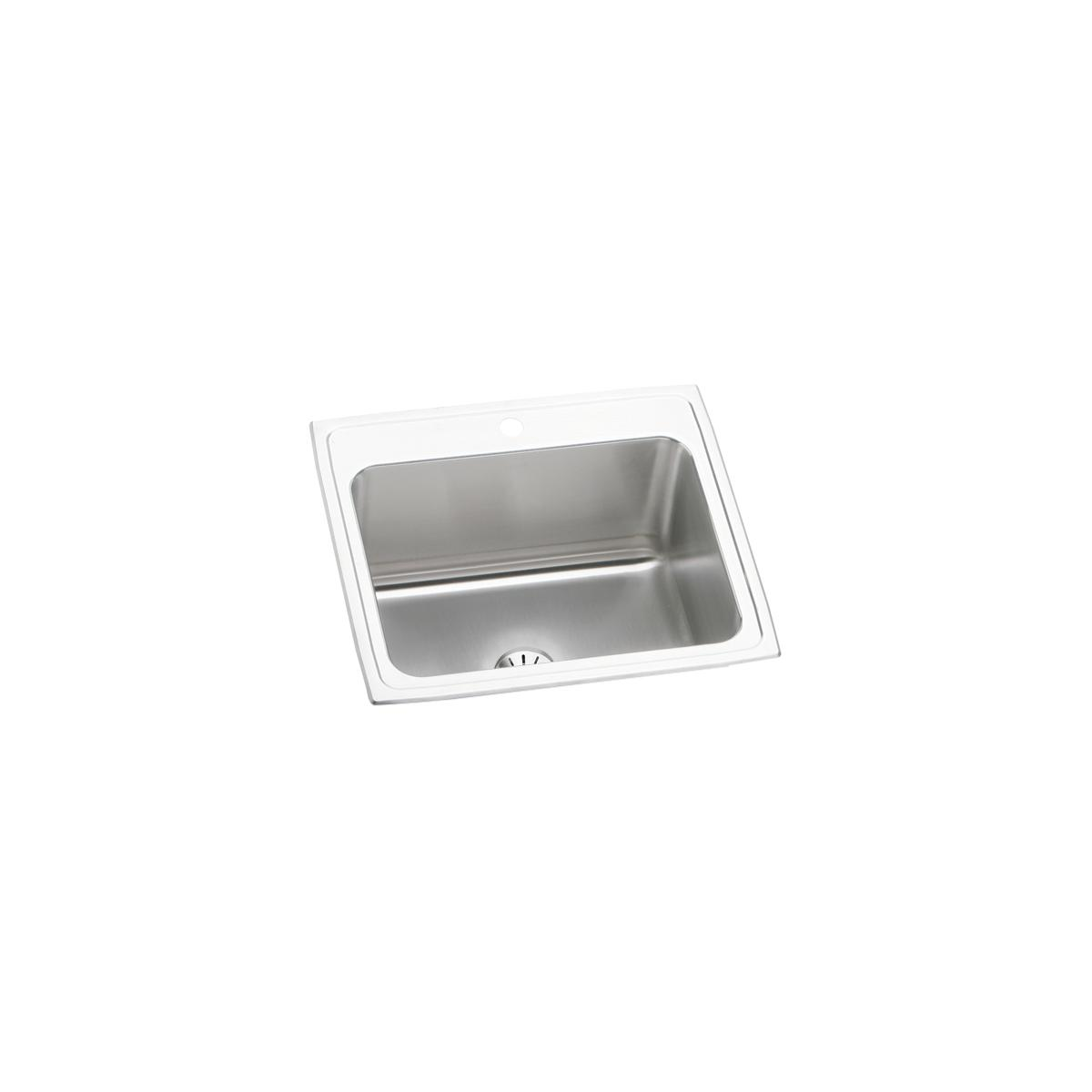 "Elkay Lustertone Classic Stainless Steel 25"" x 22"" x 10-3/8"", Single Bowl Drop-in Sink with Perfect Drain"