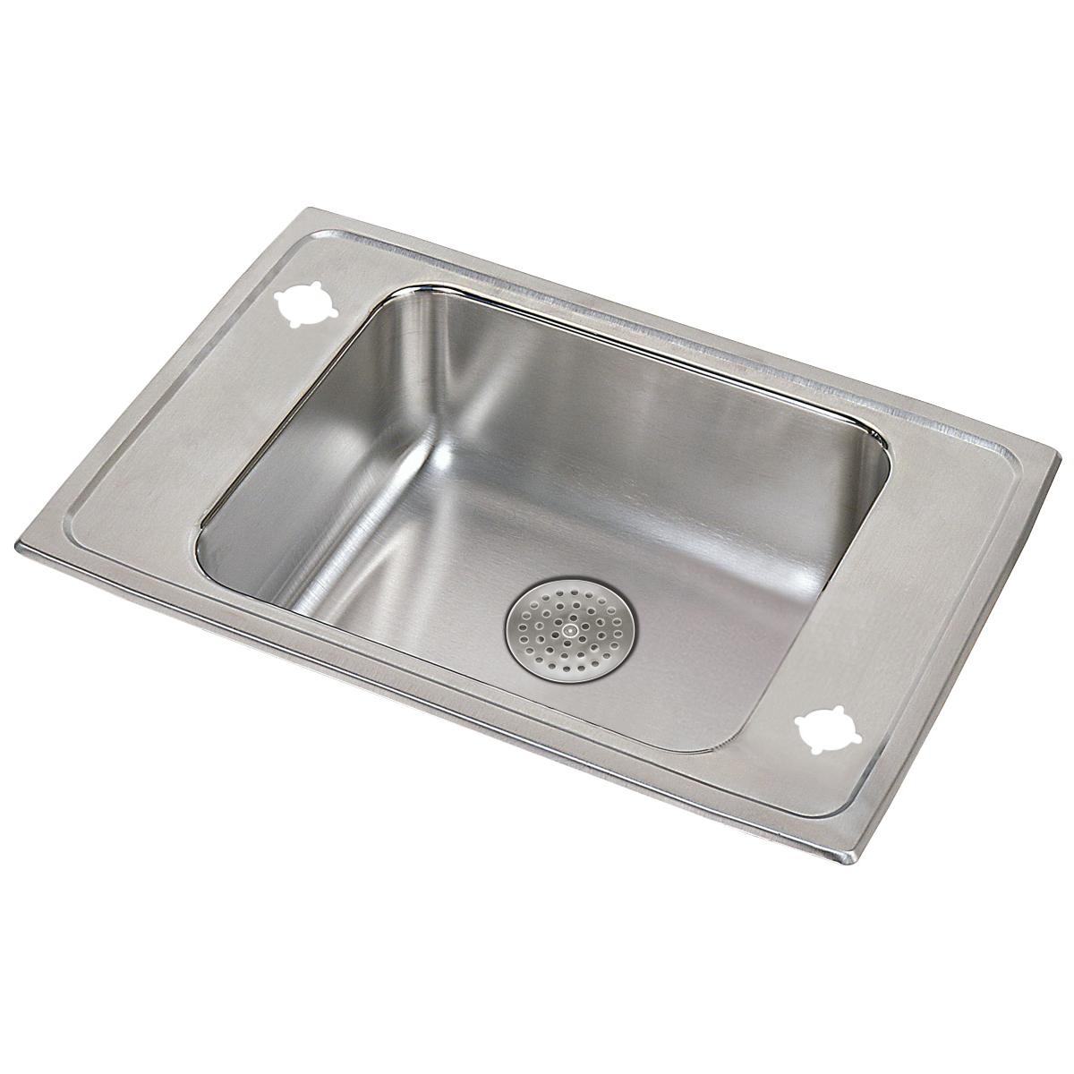 "Elkay Lustertone Classic Stainless Steel 31""x19-1/2""x5-1/2"", Single Bowl Drop-in Classroom ADA Sink w/ Perfect Drain Grid"