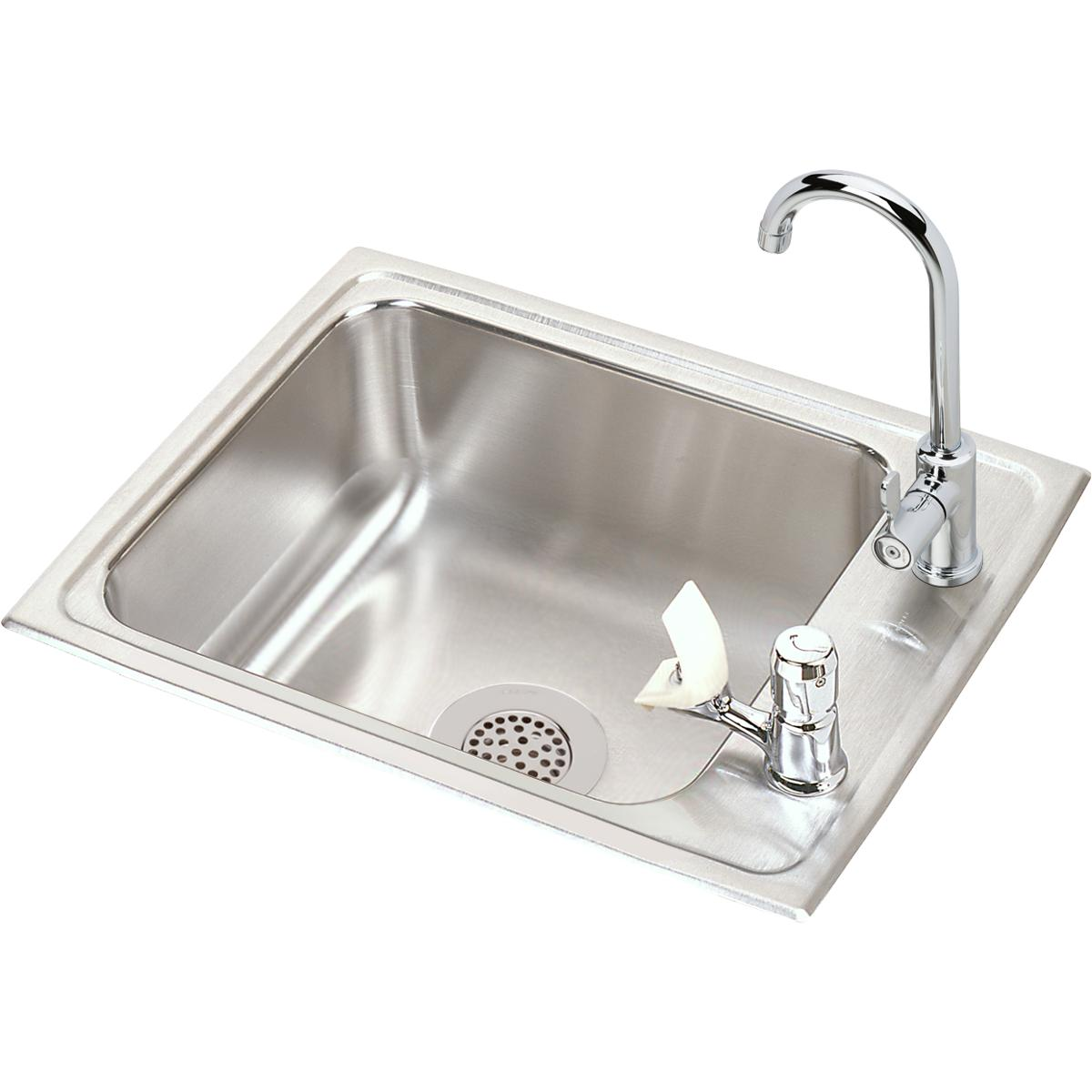 "Elkay Lustertone Classic Stainless Steel 22"" x 17"" x 7-5/8"", Single Drop-in Classroom Sink + Faucet/Bubbler Kit"