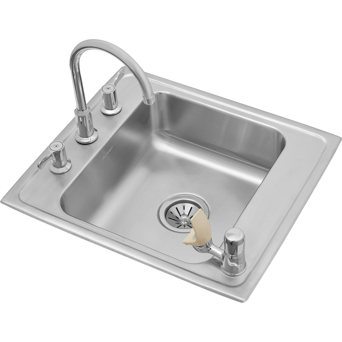 "Elkay Lustertone Classic Stainless Steel 22"" x 19-1/2"" x 7-1/2"", Single Classroom Sink + Faucet/Bubbler Kit"