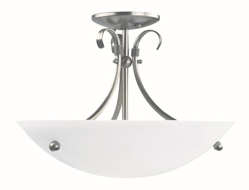"DVI DVP3213SN Georgian 16"" Semi Flush Mount Light Fixture Satin Nickel"