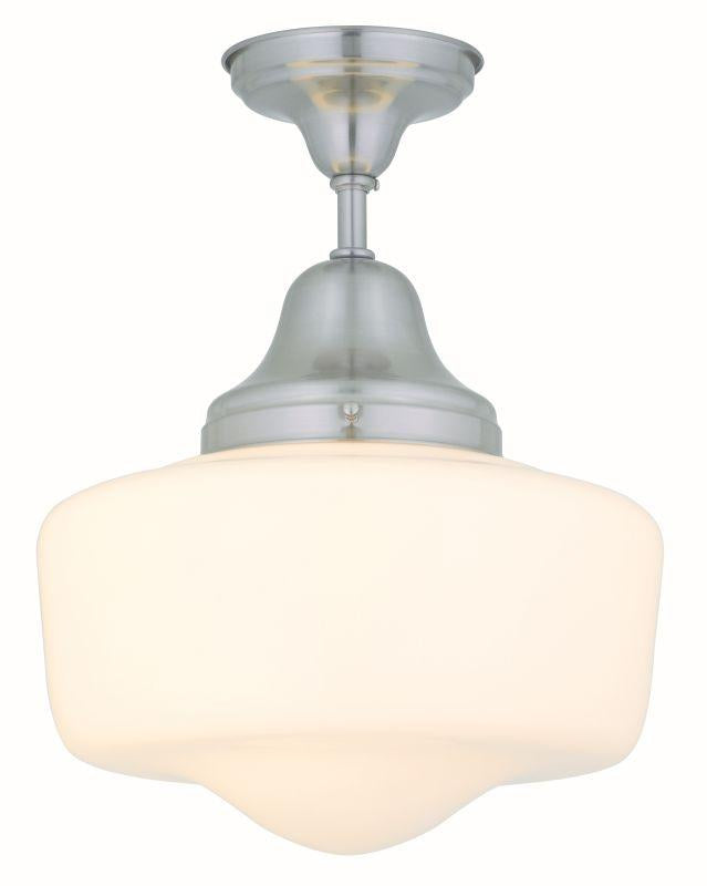 "DVI DVP7511SN Schoolhouse 14"" Semi Flush Light Fixture Satin Nickel"