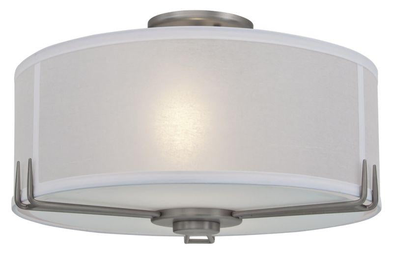 "DVI DVP9112BN Geometry 16"" Round Semi Flush Mount Light Fixture Buffed Nickel"